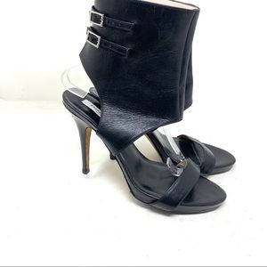 Emerson Fry black leather ankle strap heels 9.5 C1
